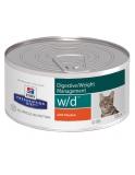 Hill's Prescription Diet w/d Digestive при поддержании веса и сахарном диабете, для кошек с курицей 156 г