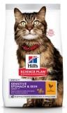 Hill's Science Plan Sensitive Stomach & Skin сухой корм для кошек для здоровья кожи и пищеварения с курицей 1,5кг