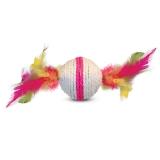 Когтеточка шарик с перьями
