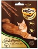 Мнямс Деликатес лакомые палочки 9 см для кошек с говядиной и яблоком 3*4г