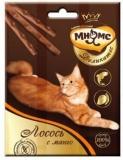 Мнямс Деликатес лакомые палочки 9см для кошек с лососем и манго 3*4г