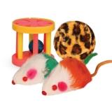 Набор игрушек (2 мышки, меховой шар, барабан)